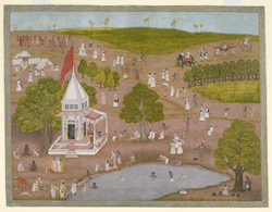 A landscape with a shrine and pilgrims